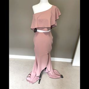 Symphony Two Piece Evening Gown - Blush Pink - Large